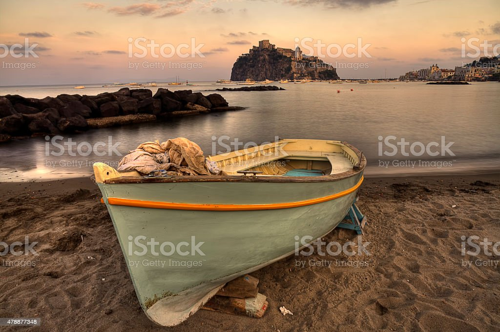 Aragonese Casle (Ischia Island) view beach old prison at sunset stock photo
