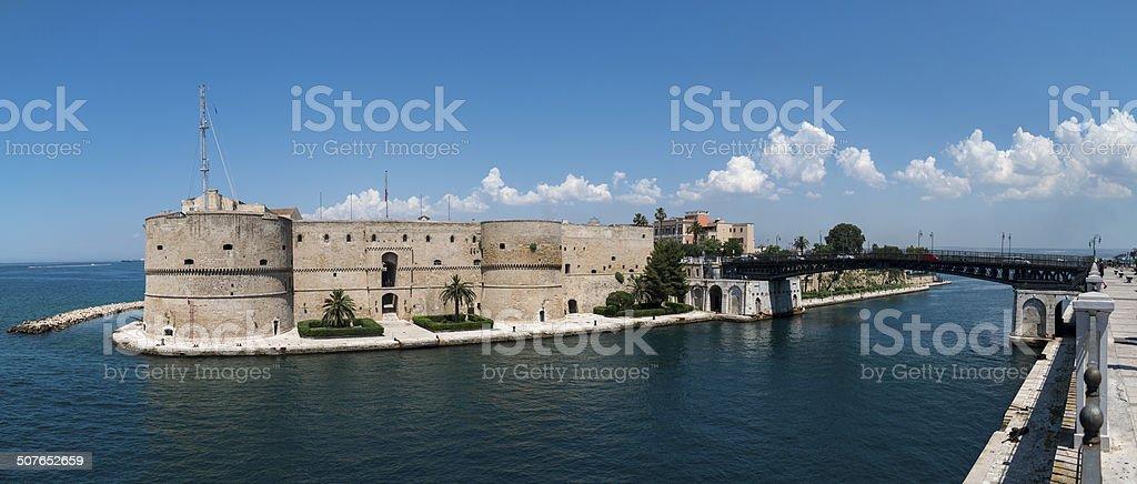 Aragonese castle and swing bridge stock photo