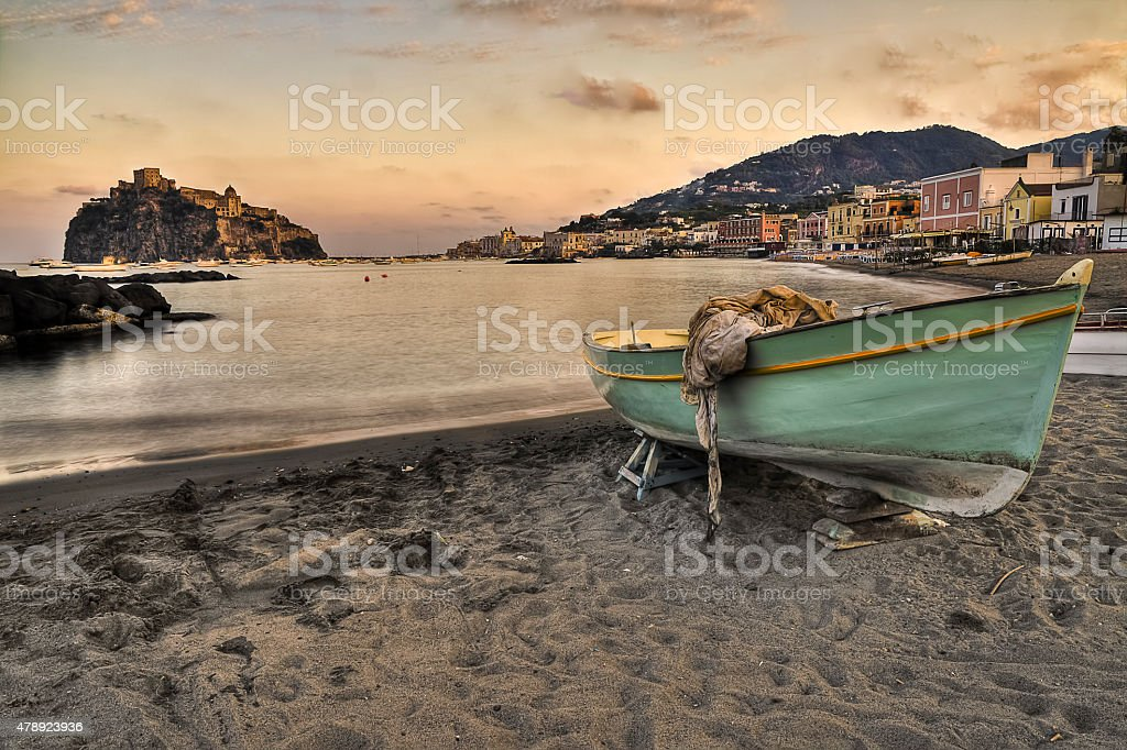 Aragonese castle (Ischia island Italy) view from beach old priso stock photo