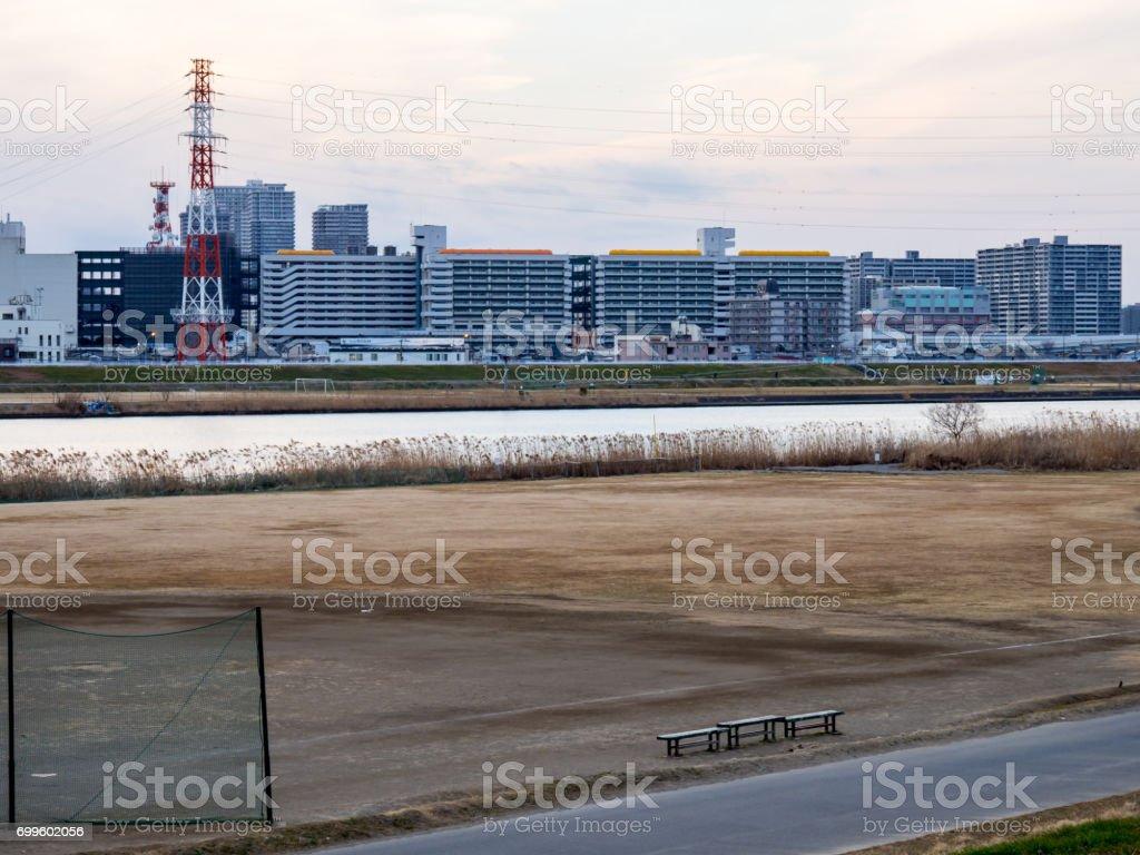 Arakawa riverbed stock photo