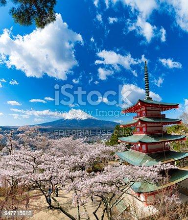 istock Arakura Sengen Shrine who is famous for Mount Fuji and Cherry tree in Japan 947715612