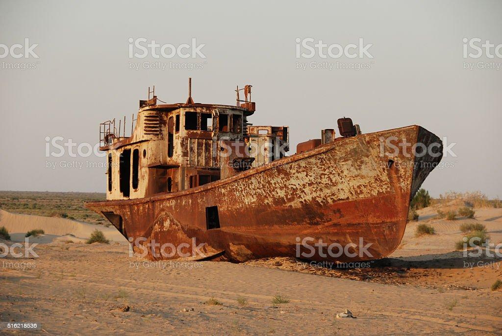 Aral sea shipwreck stock photo