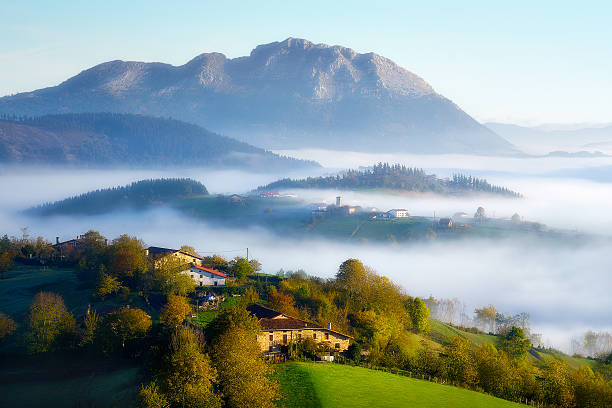 Aramaio valley with fog stock photo