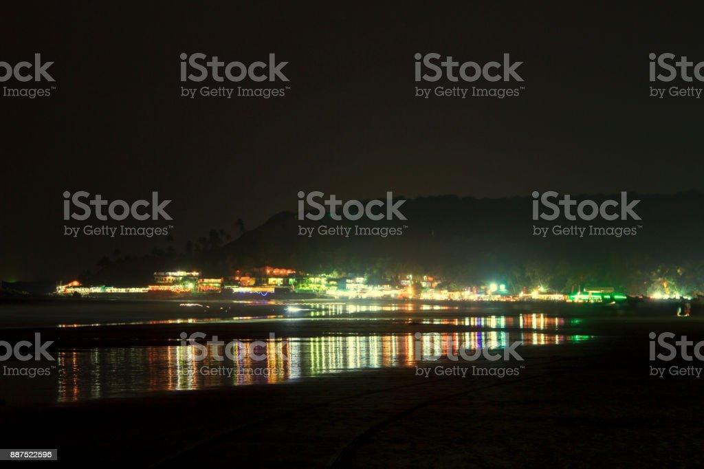 Arambol village in Goa at deep night stock photo