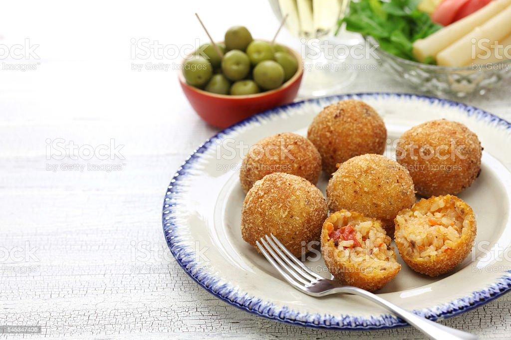 arancini di riso, italian risotto rice balls stock photo