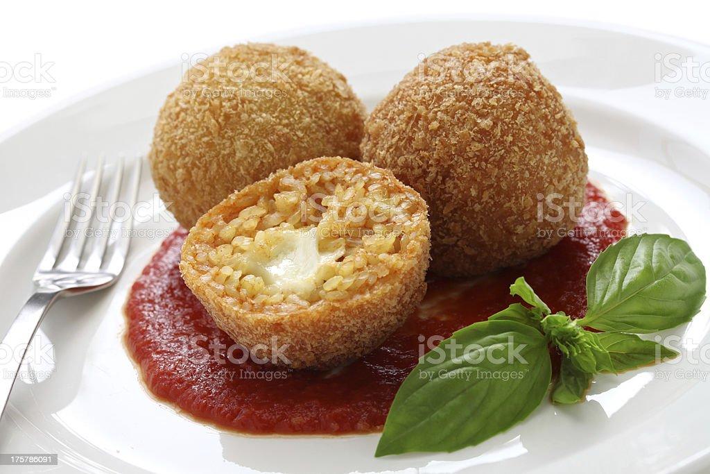 arancini, fried rice balls stock photo