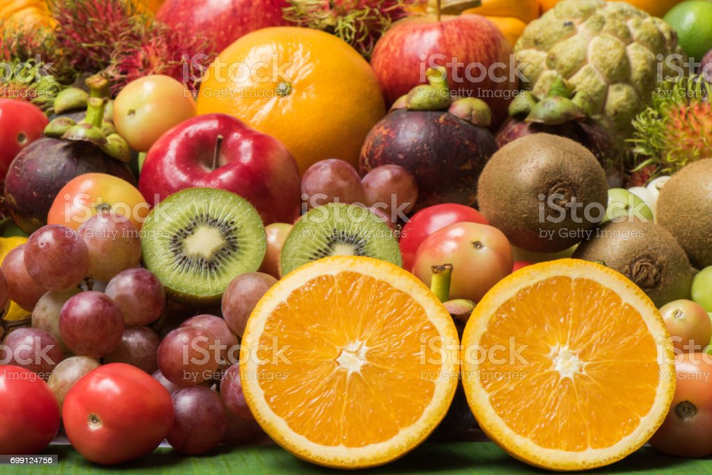 Arangement ripe fruits and vegetables for healthy eating and dieting stock photo