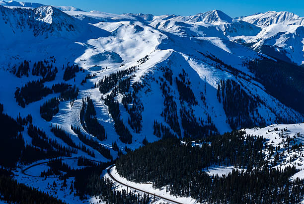 Arapahoe Basin Ski Resort An aerial view of A-Basin, from nearby Grizzly Peak.   vail colorado stock pictures, royalty-free photos & images