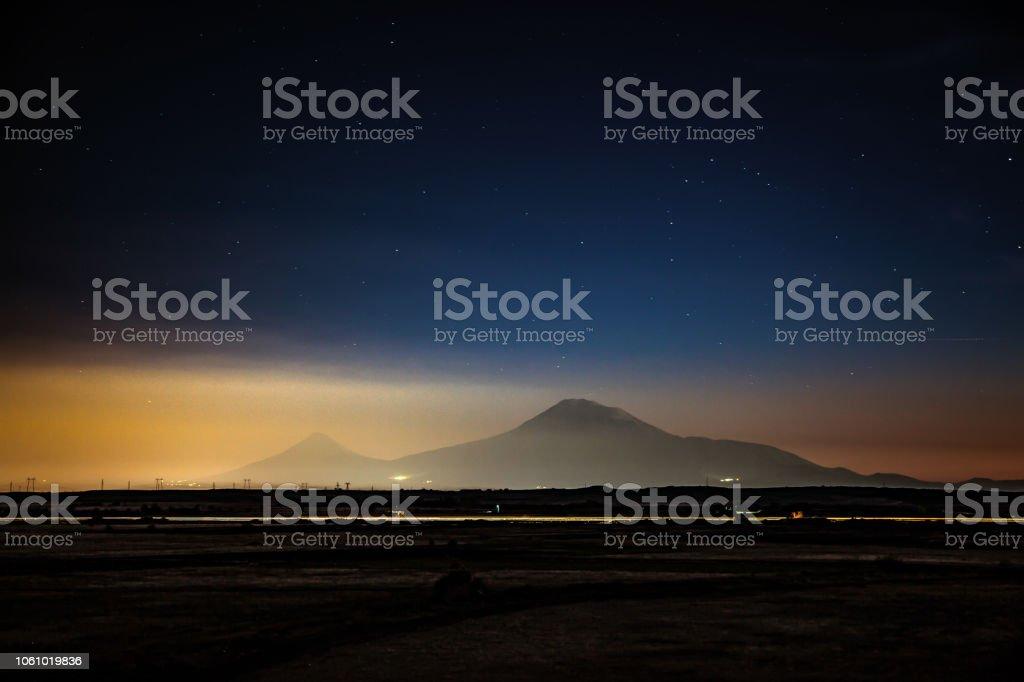 Ararat mountain at the night stock photo