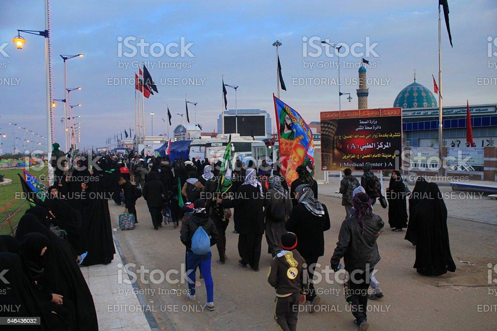 Arbaeen Walk Najaf To Karbala Stock Photo - Download Image