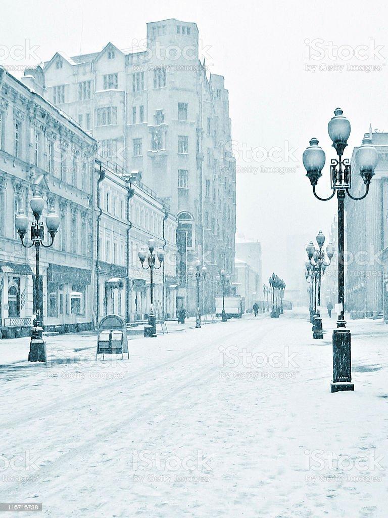Arbat winter street, Moscow, Russia stock photo
