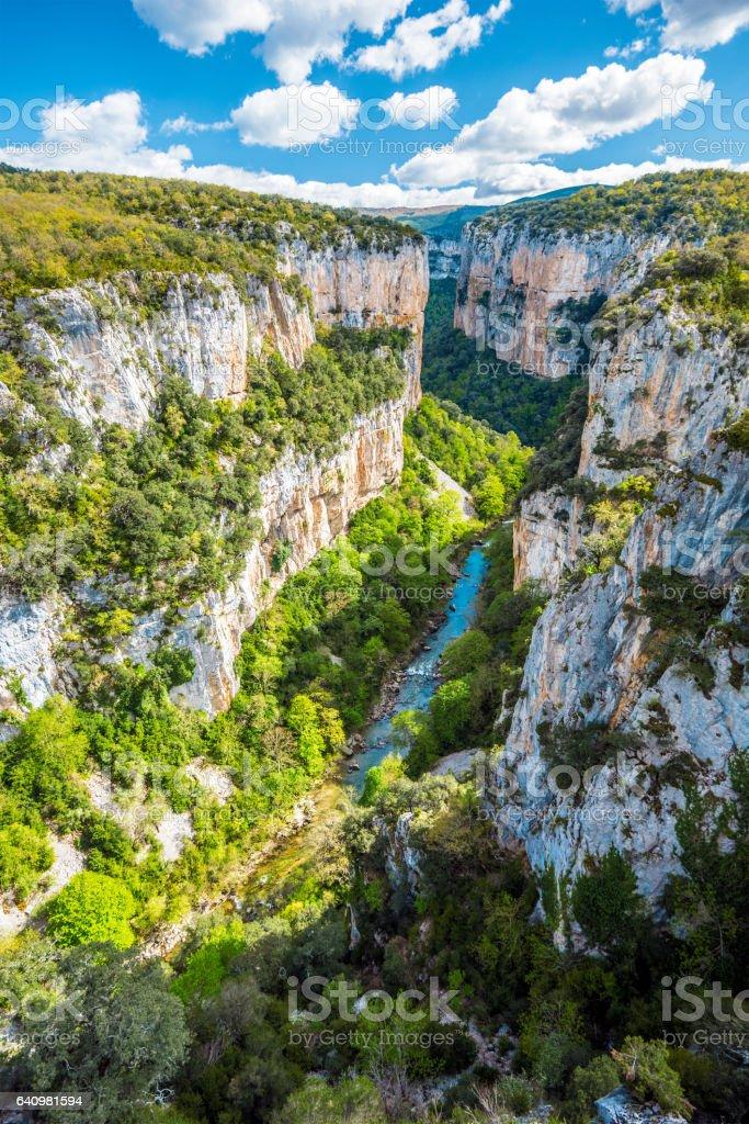 Arbayun canyon in Spanish Pyrenees stock photo