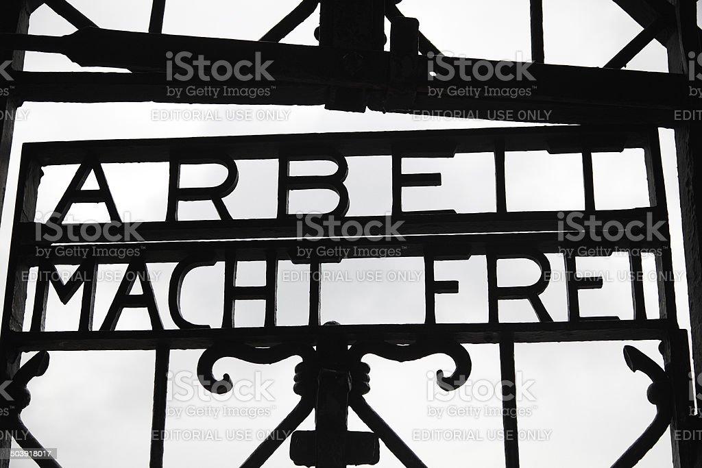 'Arbeit Macht Frei'Inschrift-Dachau – Foto