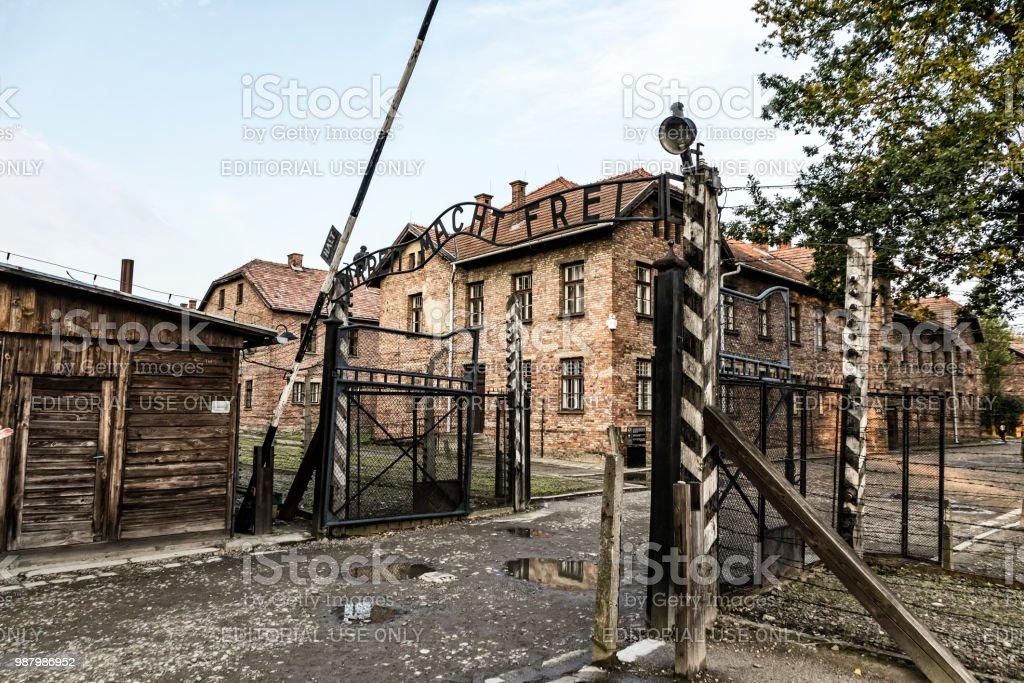 Arbeit Macht Frei unterzeichnen in Auschwitz Konzentration Lager, Oswiecim, Polen – Foto