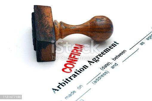istock Arbitration agreement confirm 1131477135