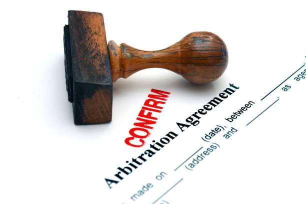 Arbitration agreement confirm stock photo