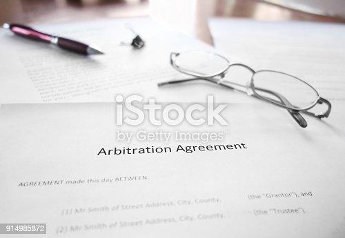 istock Arbitration Agreement document 914985872