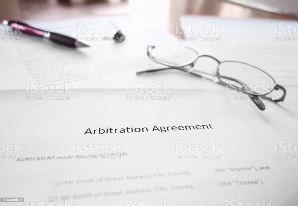 Arbitration Agreement document stock photo