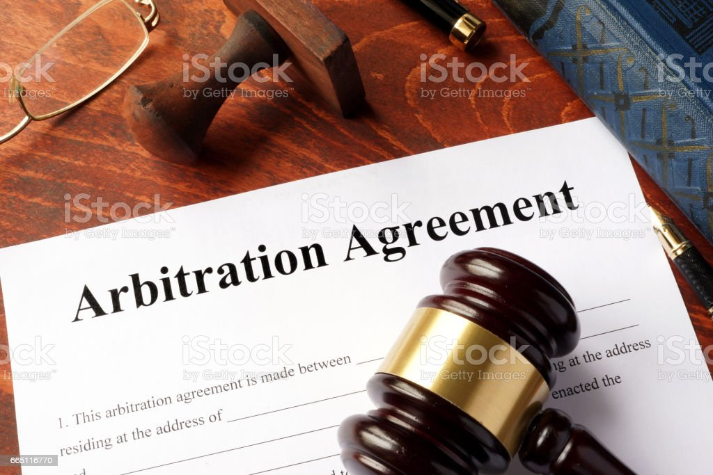 Arbitration agreement form on an office table. stock photo