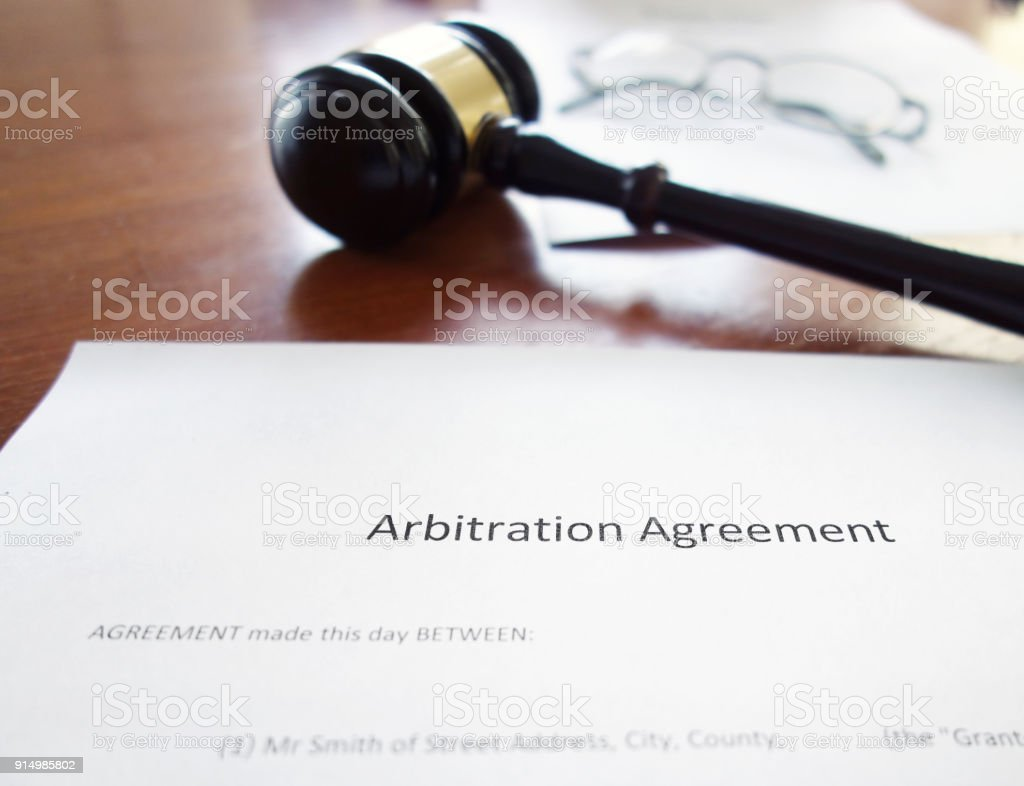 Arbitration agreement gavel stock photo