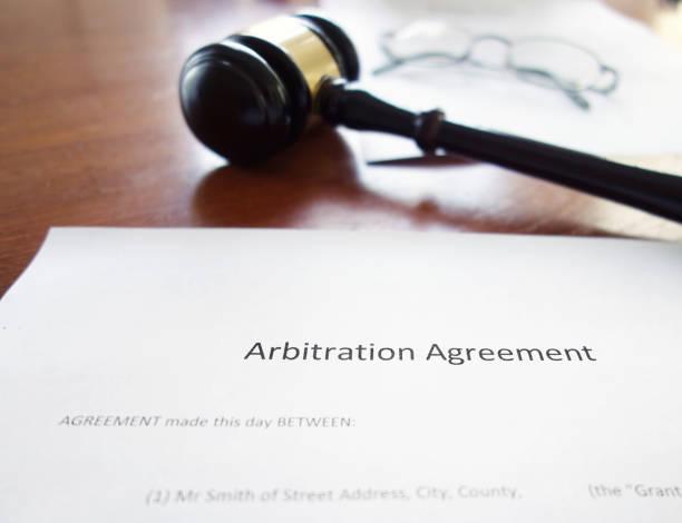 Arbitration agreement gavel stock photo