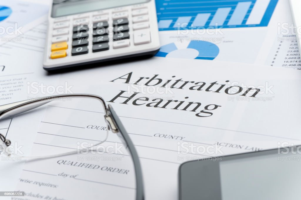 Arbitration hearing form on a desk stock photo