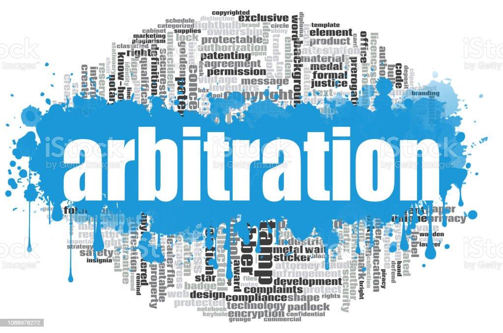Arbitration word cloud stock photo