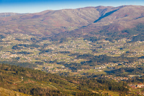 Arbo valley from San Fins viewpoint stock photo