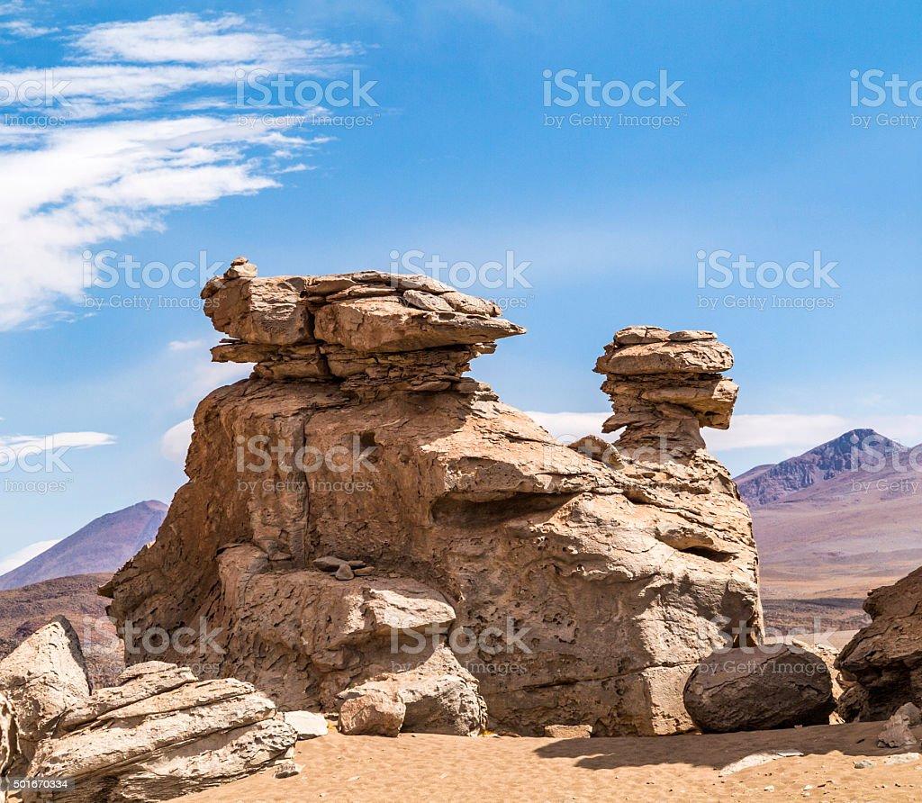 Arbol de Piedra (stone tree) , isolated rock formation in Bolivia stock photo