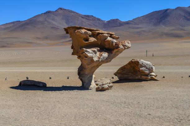 Arbol de Piedra or stone tree on Altiplano, Bolivia stock photo
