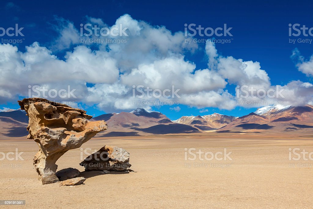 Arbol de Piedra, Stone Tree, Desierto Siloli, Bolivia stock photo