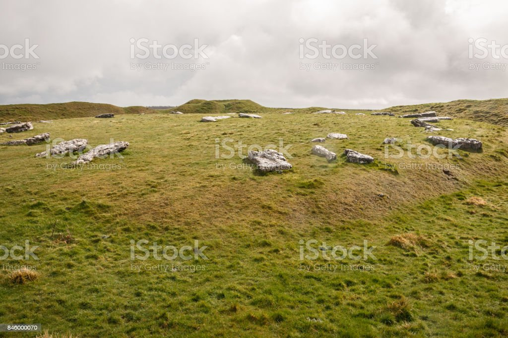Arbor Low Stone Circle, Peak District. Ancient Sundial. English landscape Derbyshire stock photo
