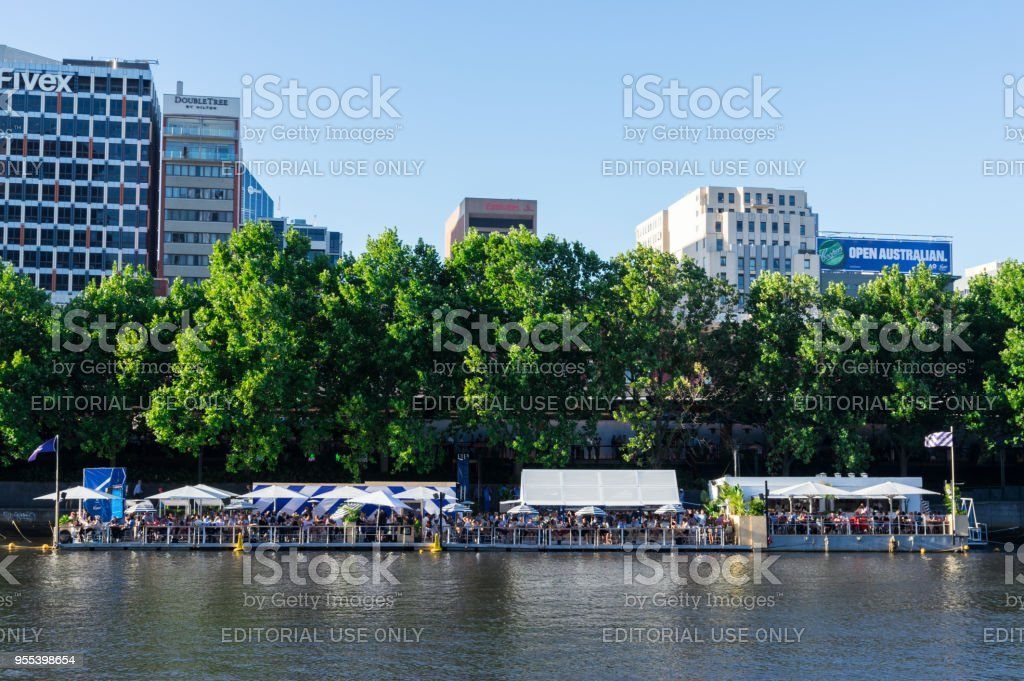 Arbory Afloat floating bar on the Yarra River in Melbourne - Zbiór zdjęć royalty-free (Australia)