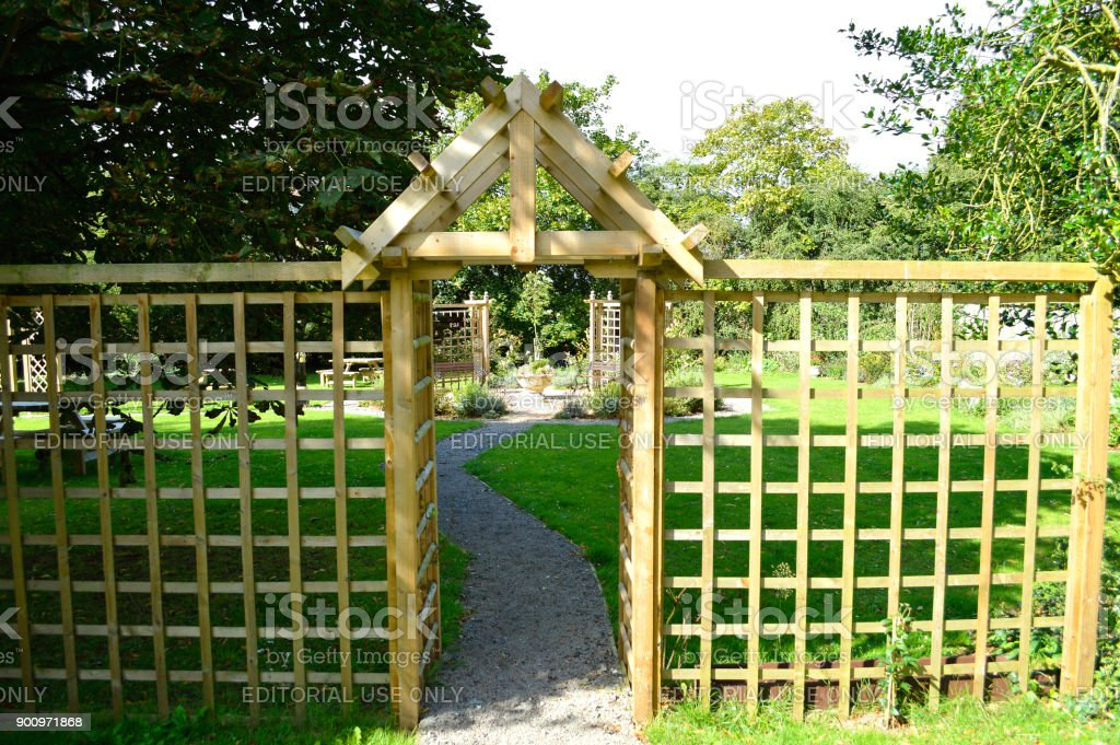 Arbour and trellis timber screen stock photo