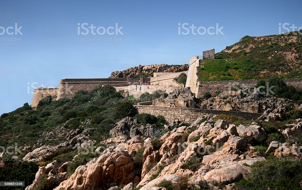 Arbutigi fort. Caprera. La Maddalena archipelago (Sardinia - Italy) stock photo