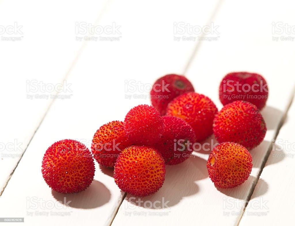 arbutus fruit stock photo