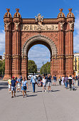 Barcelona, Catalonia, Spain - October 8, 2019: A vertical close-up view of Arc de Triomf, a triumphal arch built for 1888 Barcelona Universal Exposition.