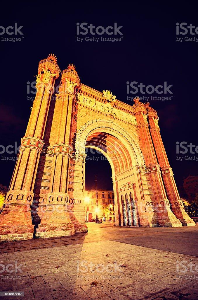 Arc de Triomf, Barcelona in night royalty-free stock photo