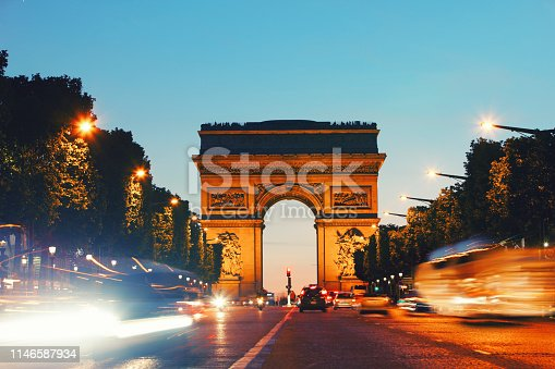 Arc de Triomph in Paris France by night