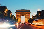 Arc de Triomph in Paris France by night
