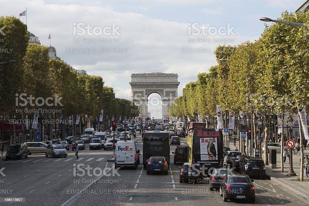 Arc de Triomphe and Champs-Elysees Avenue royalty-free stock photo