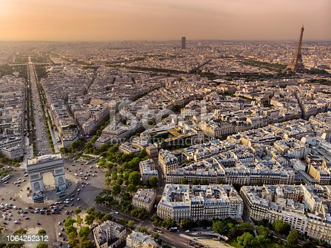 Aerial view of the triomphe Arch and Eiffel tower in Paris at Sunrise