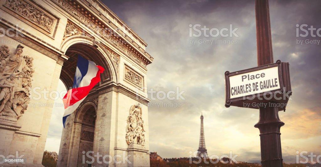 Arc de Triomphe and Eiffel tower in Paris stock photo