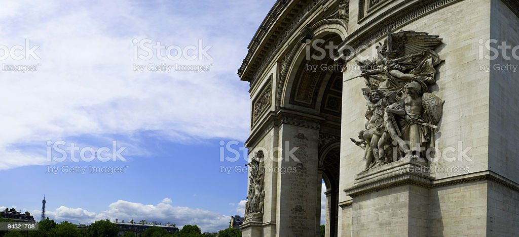 Arc de Triomphe and Eiffel Tower royalty-free stock photo