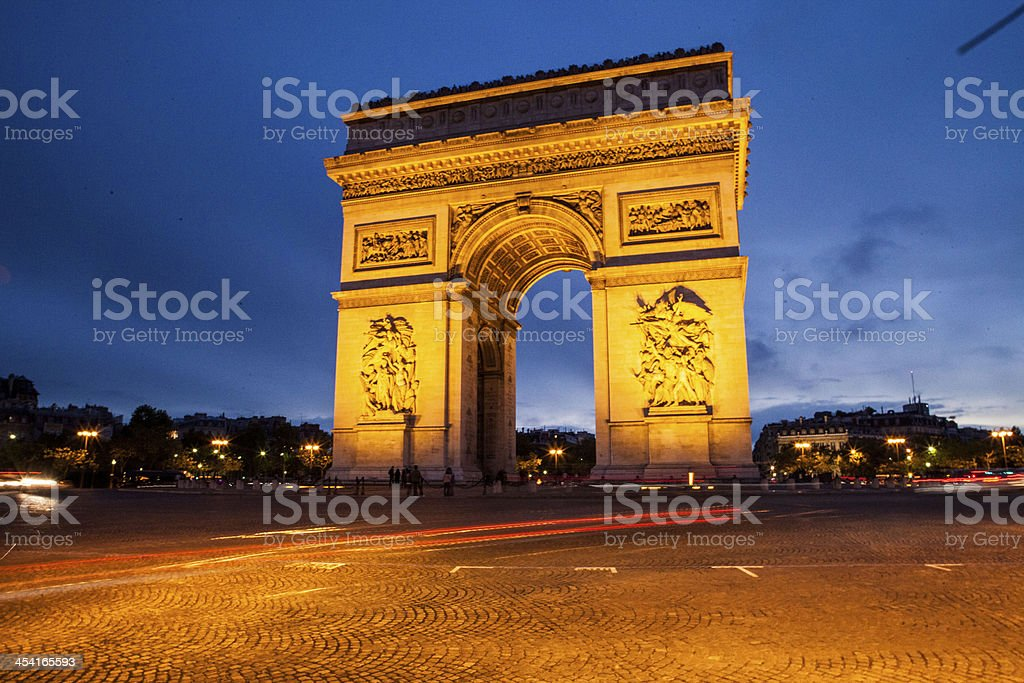 Arc de triomphe arch of triumph paris france royalty-free stock photo