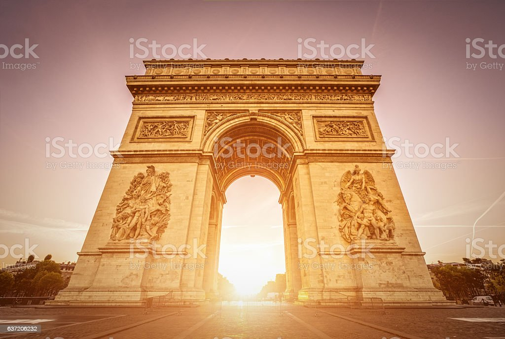 Arc de Triomphe at dawn - Paris stock photo