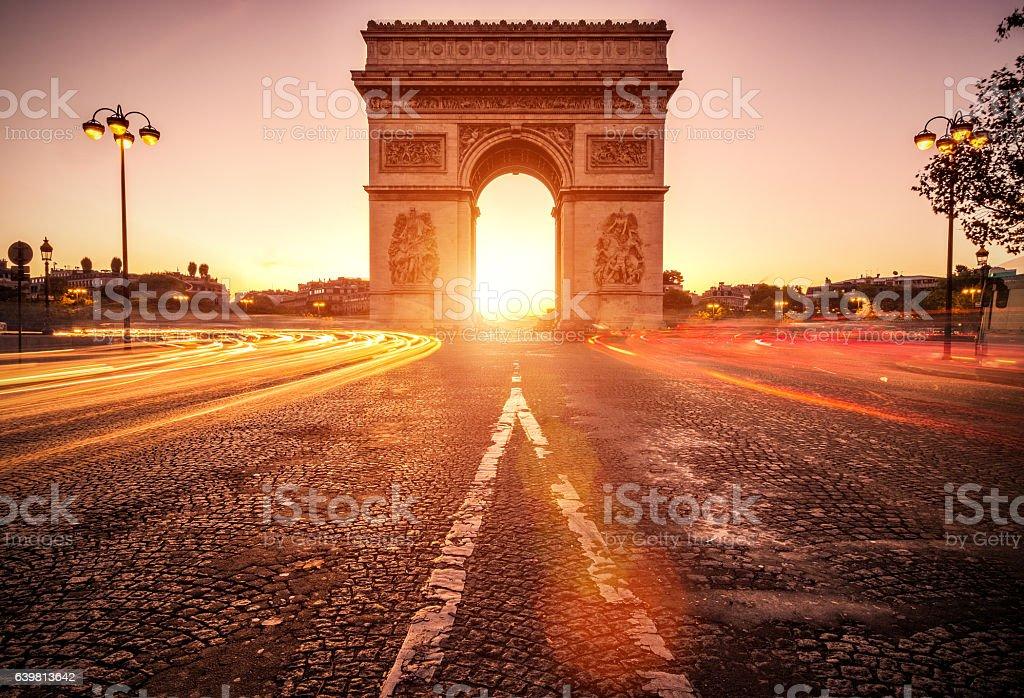 Arc de Triomphe at dawn - Paris stock photo