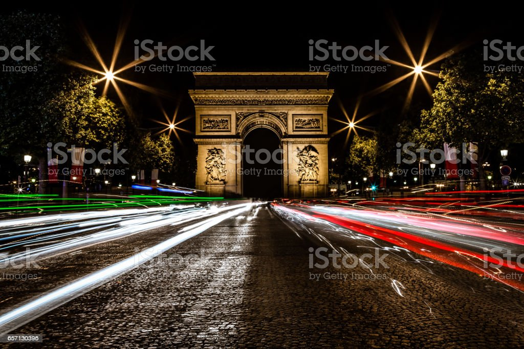 Arc de triomphe at night, Paris, France stock photo