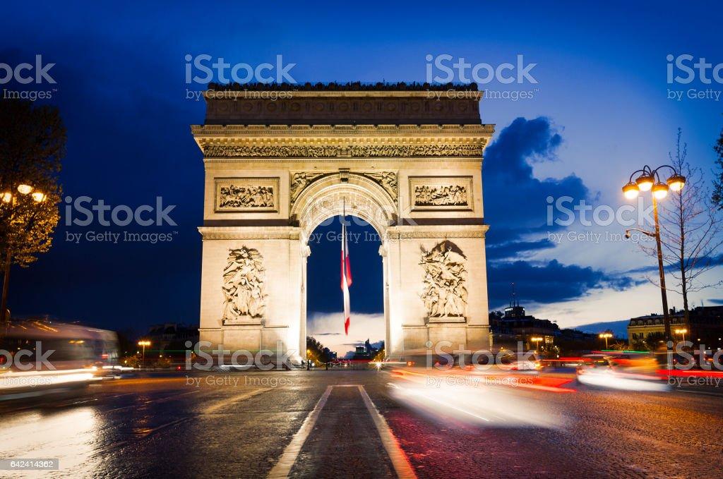 Arc De Triomphe at night, Paris stock photo