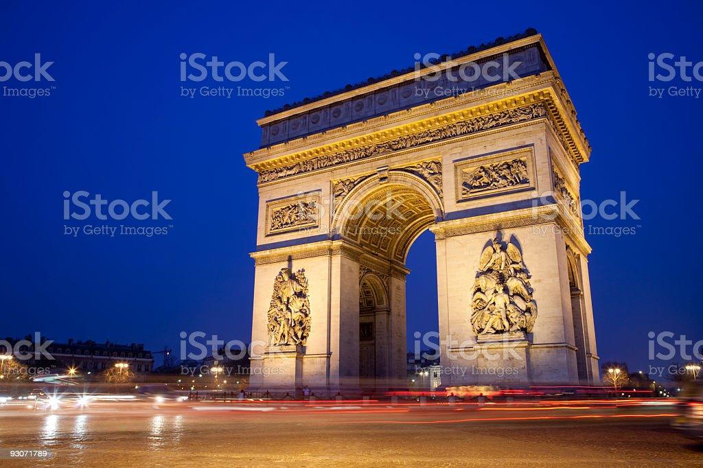 Arc de triomphe at night royalty-free stock photo
